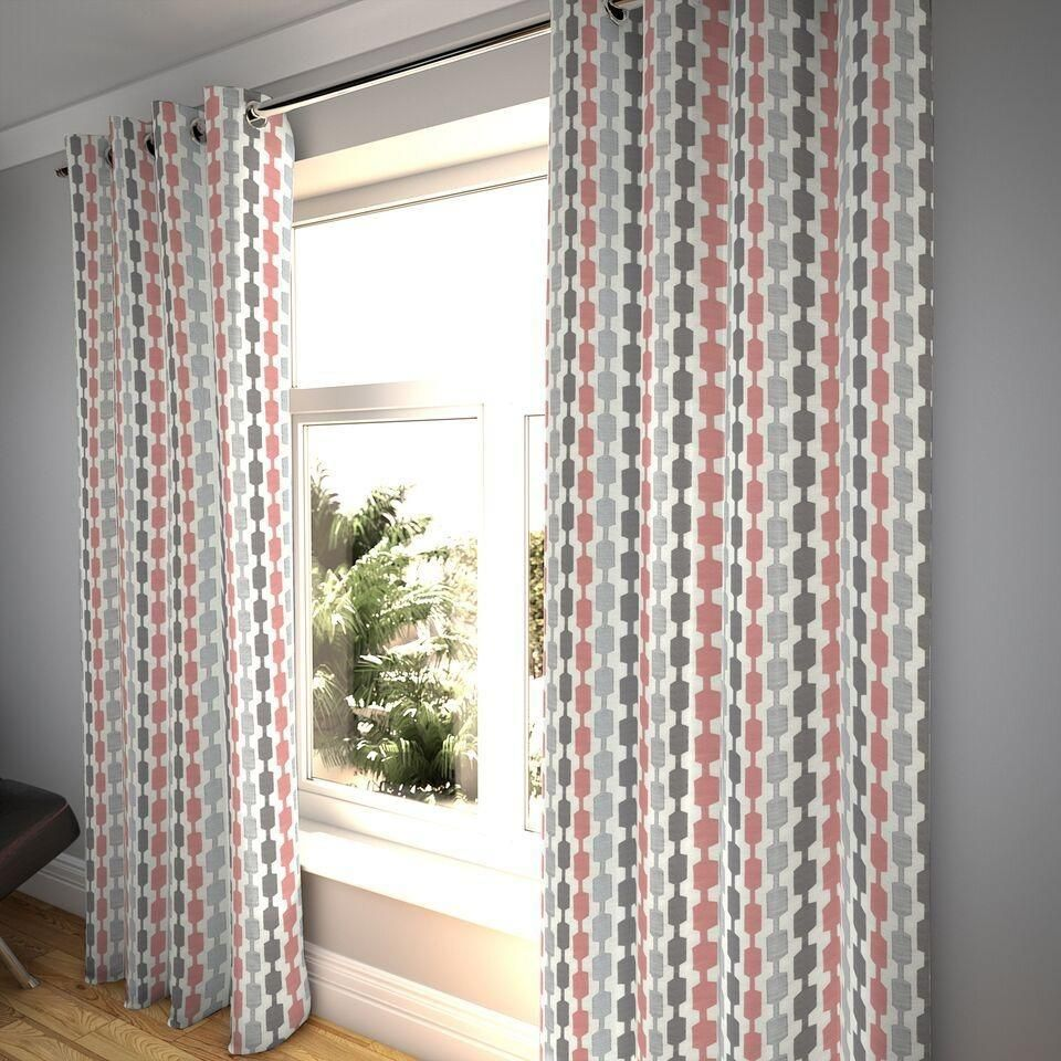 Lotta Blush Pink Grey Curtains Pink And Grey Curtains Geometric Curtains Pink Grey