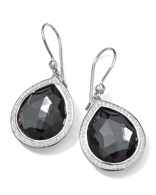 Stella Teardrop Earrings in Hematite & Diamonds, 34mm, SILVER - Ippolita
