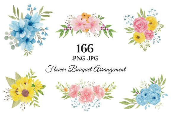 Photo of 373 Blumen Blumen Aquarell ClipArt (Grafik) von elsabenaa · Creative Fabrica
