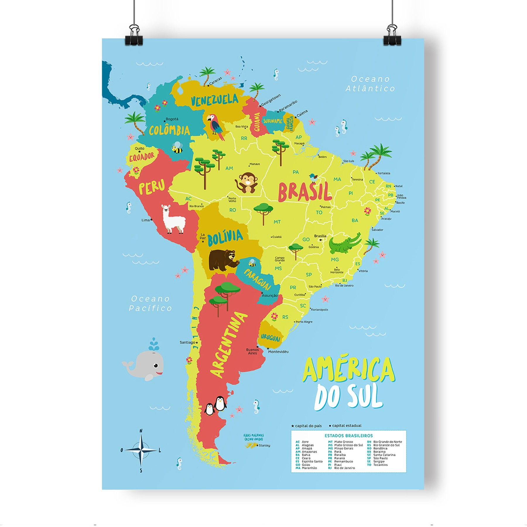 Mapa Infantil Da America Do Sul Supercolorido Tem A Demarcacao