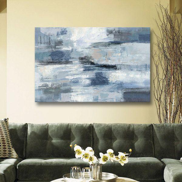 Silvia Vassileva 'Clear Water Indigo and Gray' Gallery Wrapped Canvas