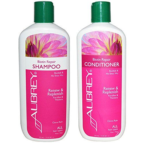 Aubrey Biotin Repair Strengthening Natural Shampoo And Conditioner Bundle For Hair Loss Or Fine Thinnin Natural Shampoo And Conditioner Shampoo Aubrey Organics