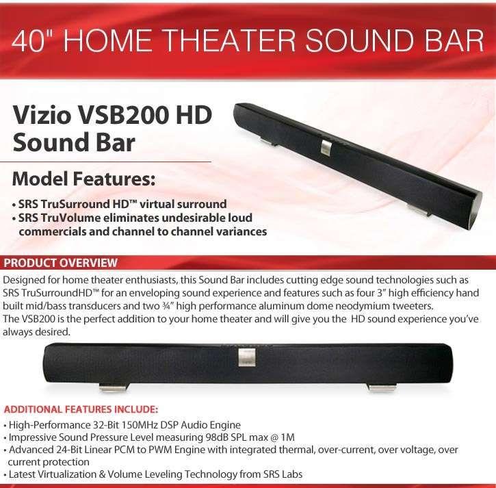 Vizio Vsb200 Hd Sound Bar Srs Trusurround Truvolume Refurbished
