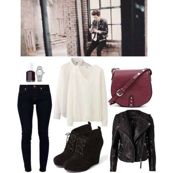 """EXO """"Miracle of December"""" MV Chanyeol Inspired Outfit by smokingcrayonz on Polyvore featuring Uniqlo, Gestuz, 7 For All Mankind, Jessica Simpson, Sole Society, Lipsy and Essie"""