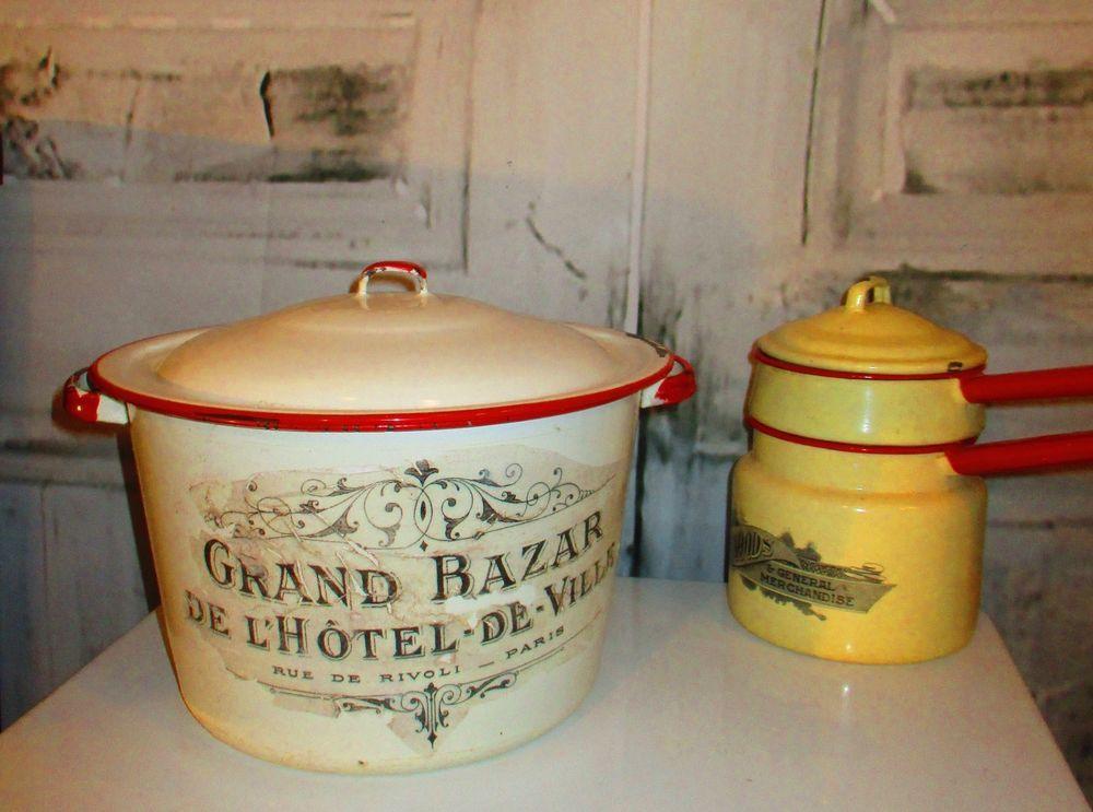 Antique Red Trim Enamelware French Hotel Chamber Pot eBay - küchen günstig kaufen ebay