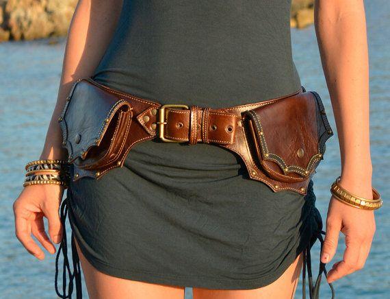 Leather Utility Belt | Handmade Festival Pocket Belt | High Quality Hip Belt | Boho Gypsy Belt Bag | Burning Man | OFFRANDES
