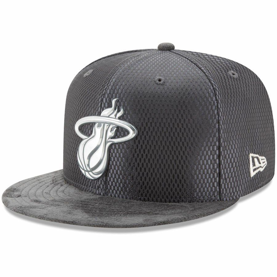 super popular 67bb3 55729 coupon code for mens miami heat new era graphite draft silver logo 59fifty  fitted hat 39.99