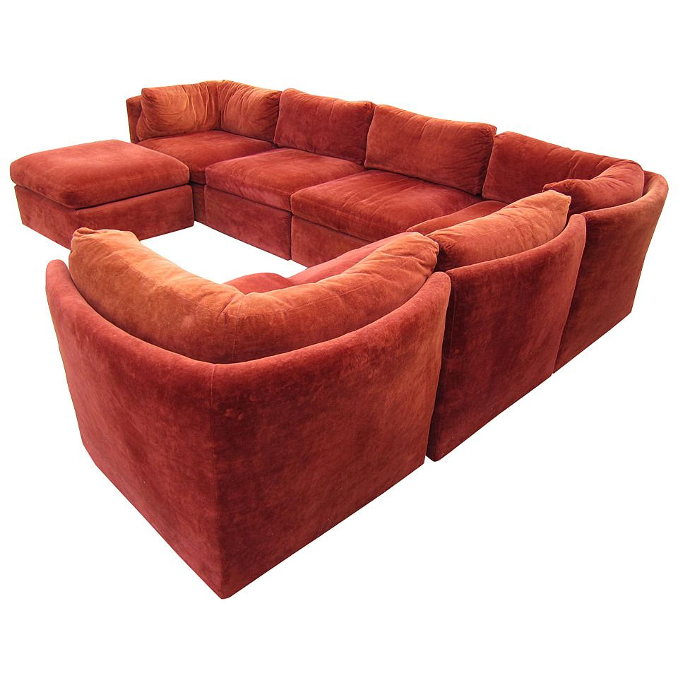 Curved Seven Piece Signed Milo Baughman Sectional Sofa