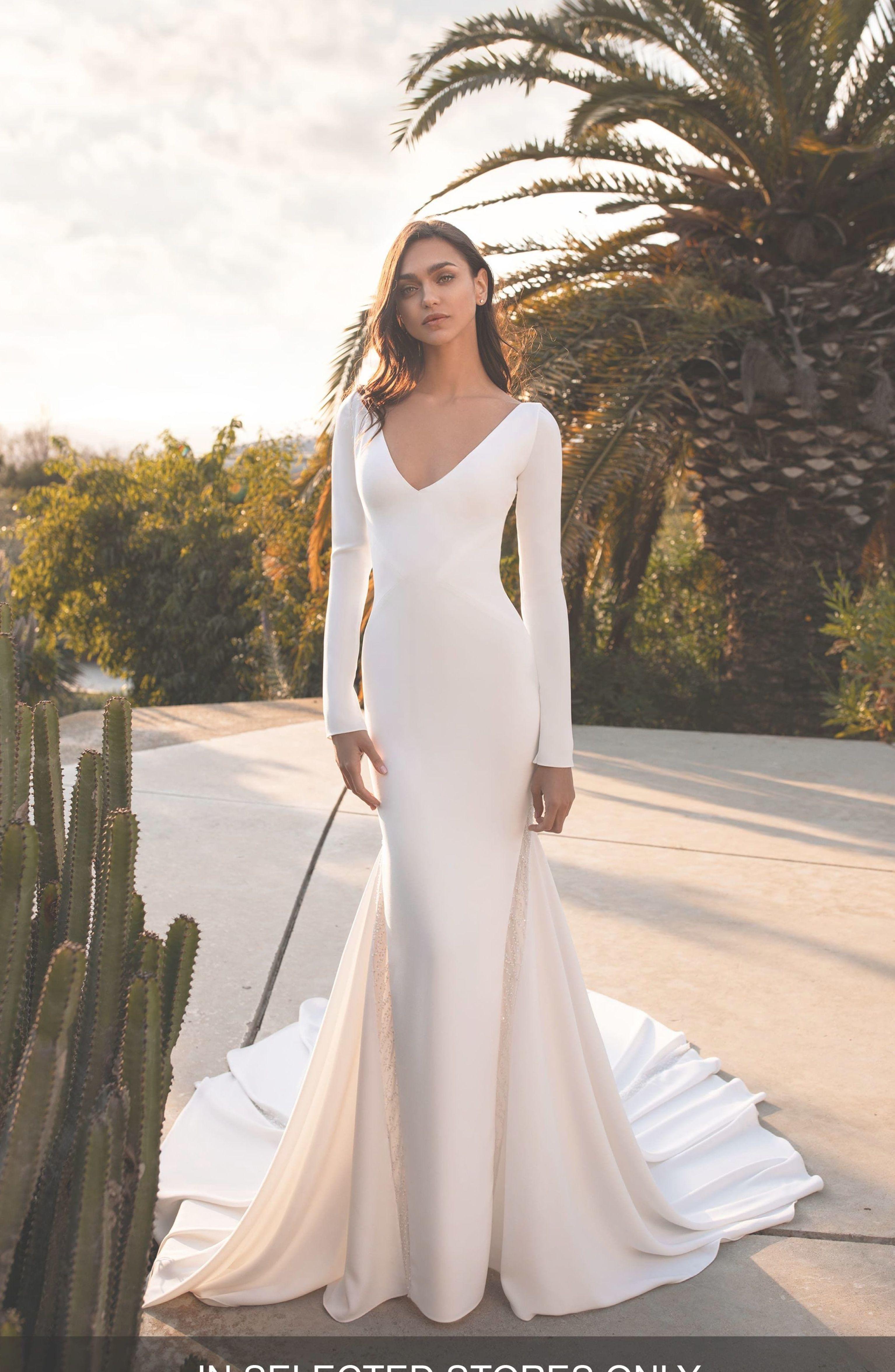 Women S Pronovias Bianca Embellished Inset Long Sleeve Crepe Trumpet Wedding Dress Size Online Wedding Dress Trumpet Wedding Dress Wedding Dress Long Sleeve