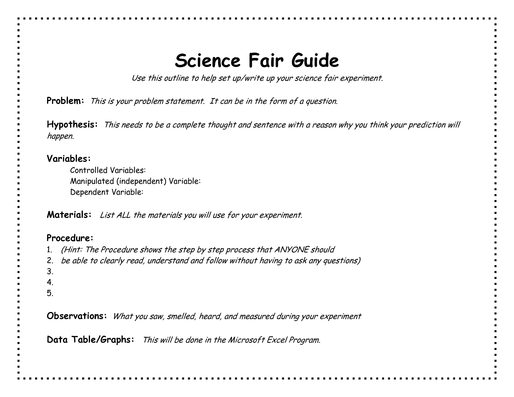 Science Fair Project Outline Template Academic Outreach