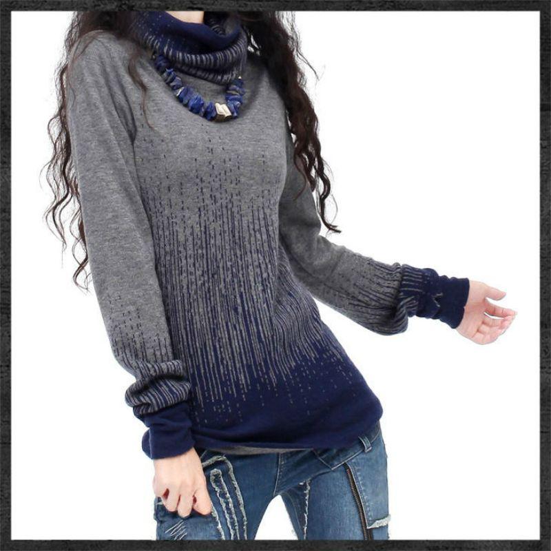 Best Deals Womens Gradient Black Blue Vintage Cashmere Sweater ...