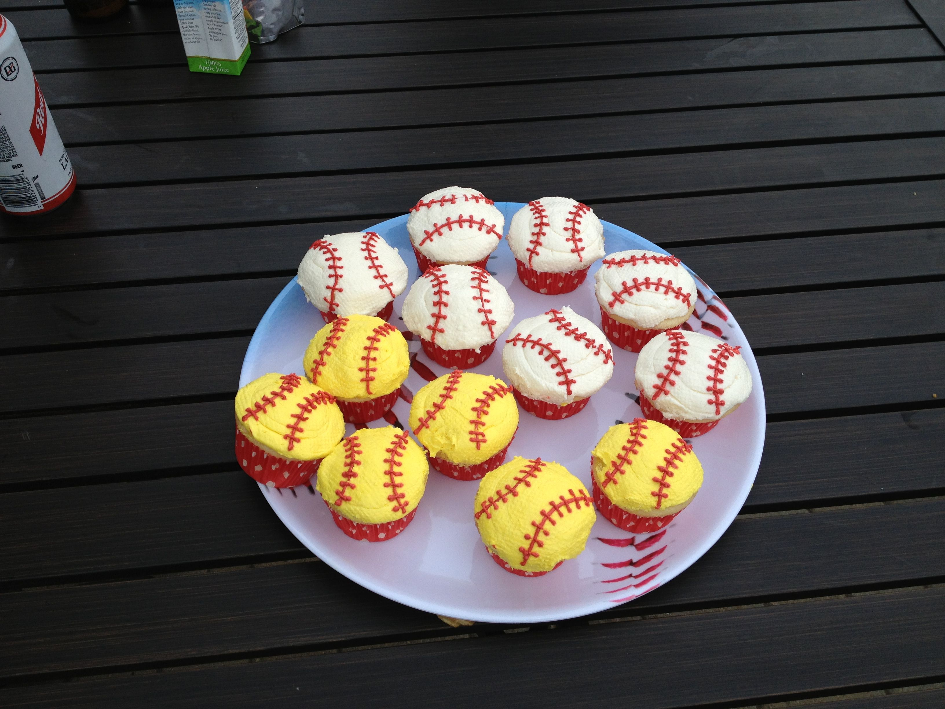 Beautifully yummy cupcakes made by my friend Cara for our softball