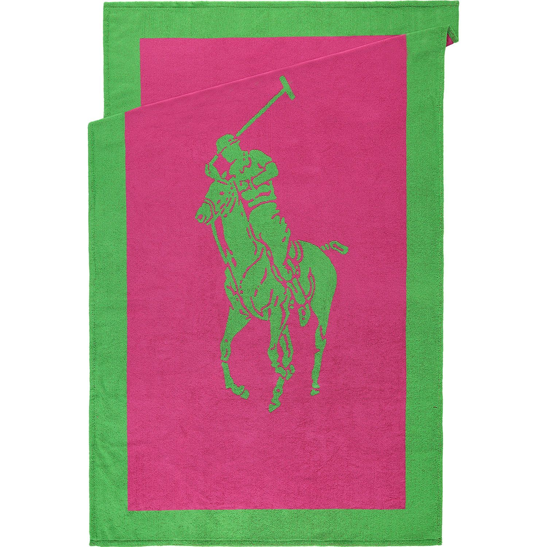 """Ralph Lauren Mens Beach Towel: """"Ralph Lauren"""" Pink & Green Logo Beach Towel"""