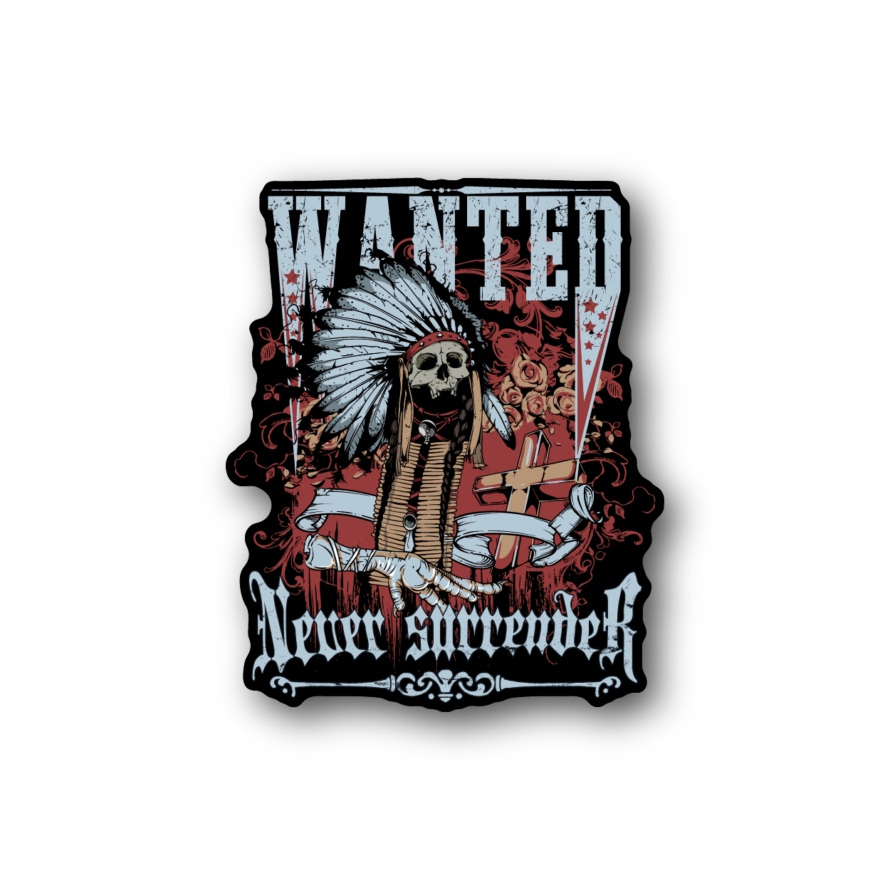 Wanted Indian Chief Sticker Indian chief, Fun stickers