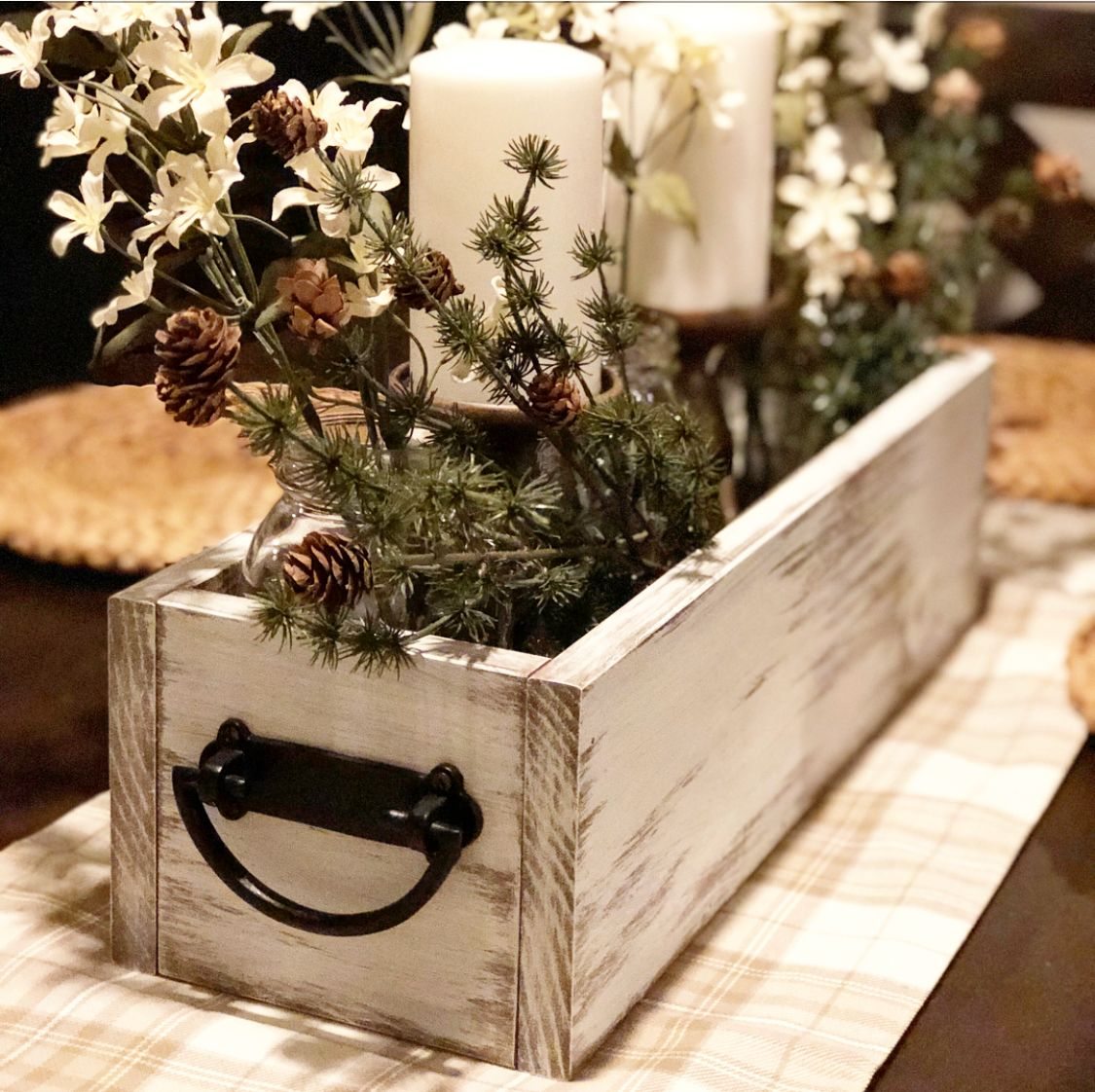 Winter Dining Room Centerpiece Great For Christmas Or Any Family Gathering Dining Room Table Centerpieces Christmas Dining Table Dining Table Centerpiece