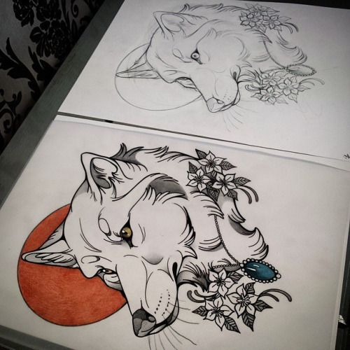 Neo Traditional Wolf Tattoo Google Search Animal Sleeve Tattoo Animal Tattoos Cute Animal Tattoos