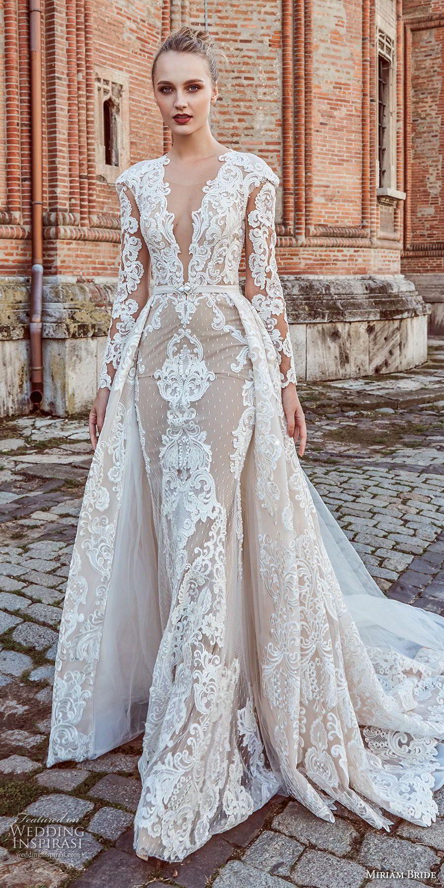 Long sleeve v neck wedding dress  miriams bride  bridal long sleeves deep v neck full