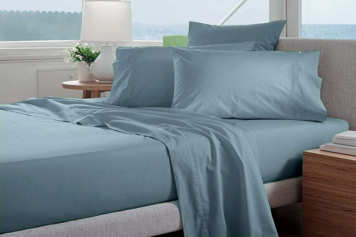 Infiniti Collection Heavy Egyptian Cotton Customized Size 4 Pcs Sheets Set 1 Fitted 1 Flat 2 Pillowcase Customized D Bed Sheets Usa Bedding Blue Bed Sheets
