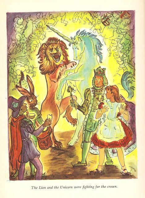 Alice and Wonderland book illustration from 1947.