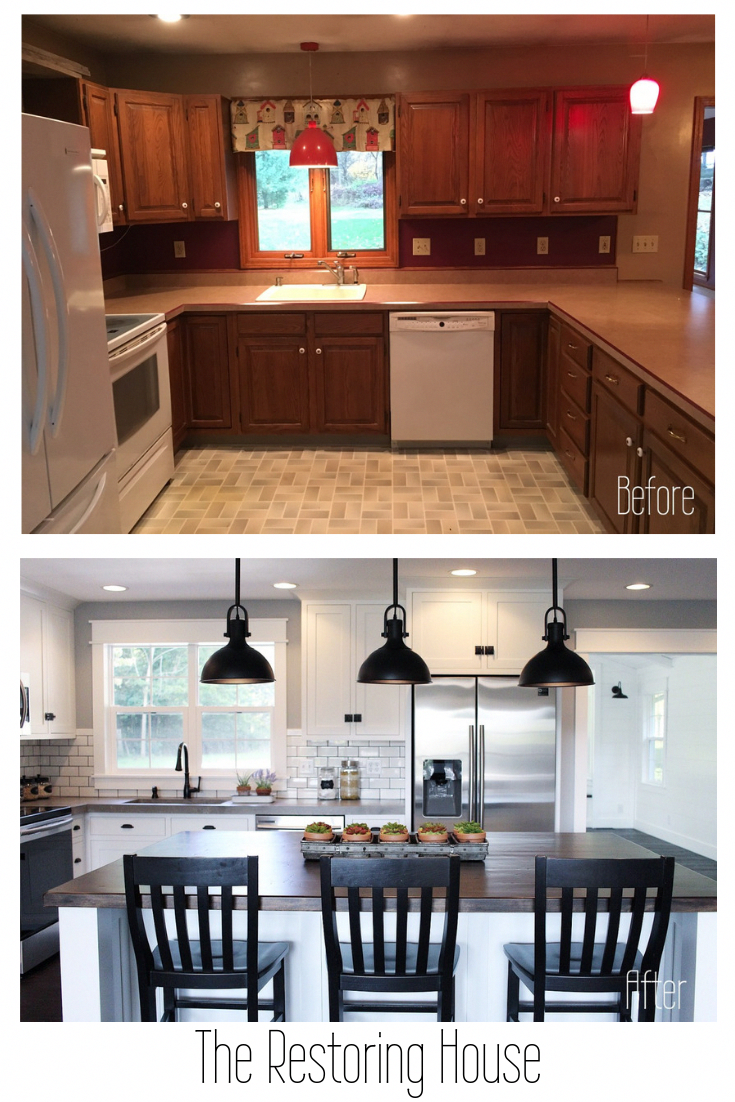 A whole house renovation. A post loaded with before and after pictures. Tons of inspiration. #kitchenremodel