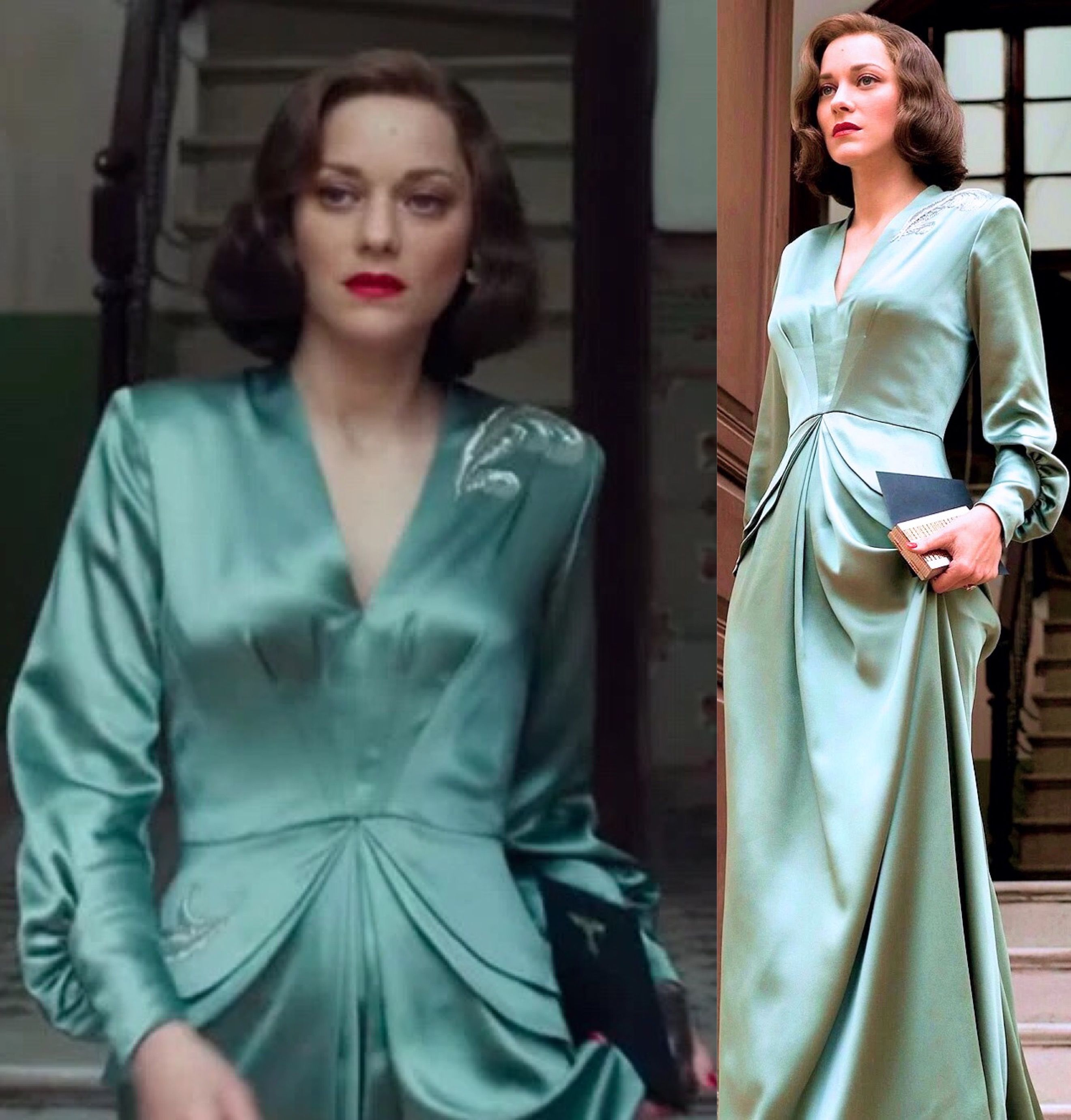 "Marion Cotillard\'s ""Allied"" costumes, by Joanna Johnston. 