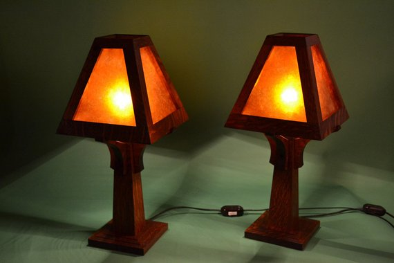 Mission Oak Arts And Crafts Mica Table Lamp Wood Lamp Design Lamp Table Lamp