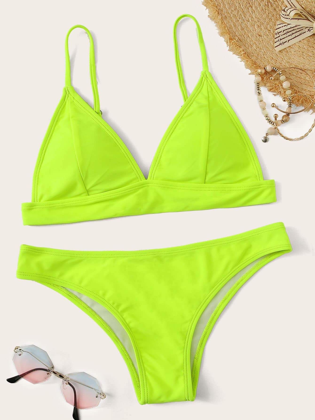 be6e883d84 V Plunging Triangle Top With High Leg Bikini Set in 2019 | Products ...