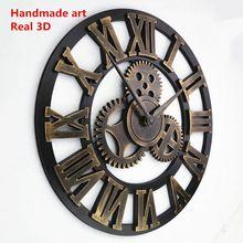 efcda96f7cf Artesanal de grandes dimensões 3D retro decorativo rústico arte de luxo  grande engrenagem de madeira do vintage grande relógio de parede na parede  para o ...