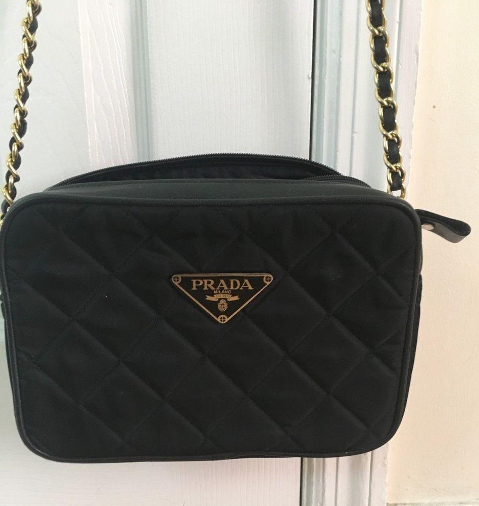 5fa5d9d6d7a Prada Quilted Black Nylon Bag Gold Chain Strap #designer #guccigang  #product #wearing #handbag