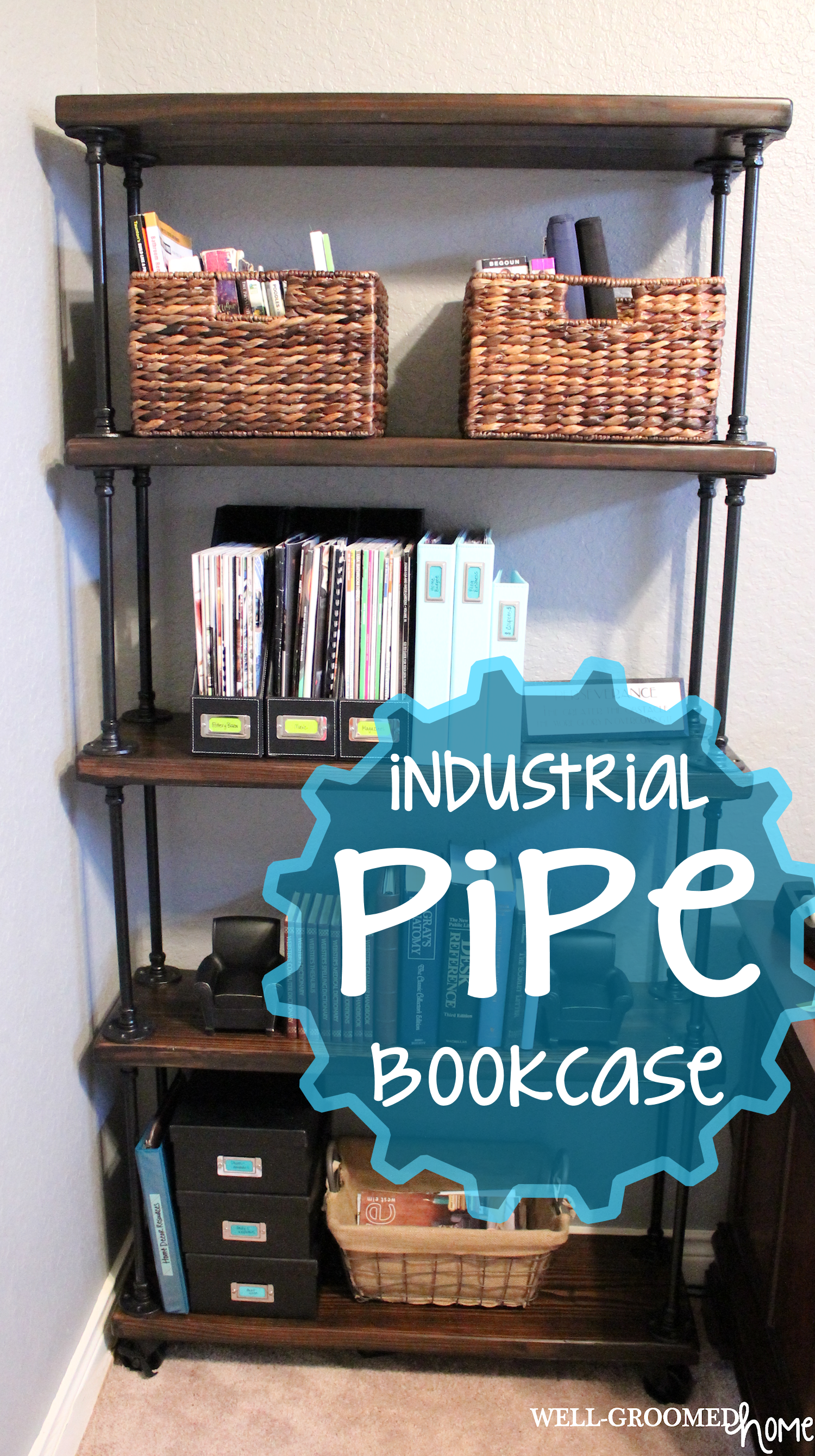 how to make industrial pipe bookshelf