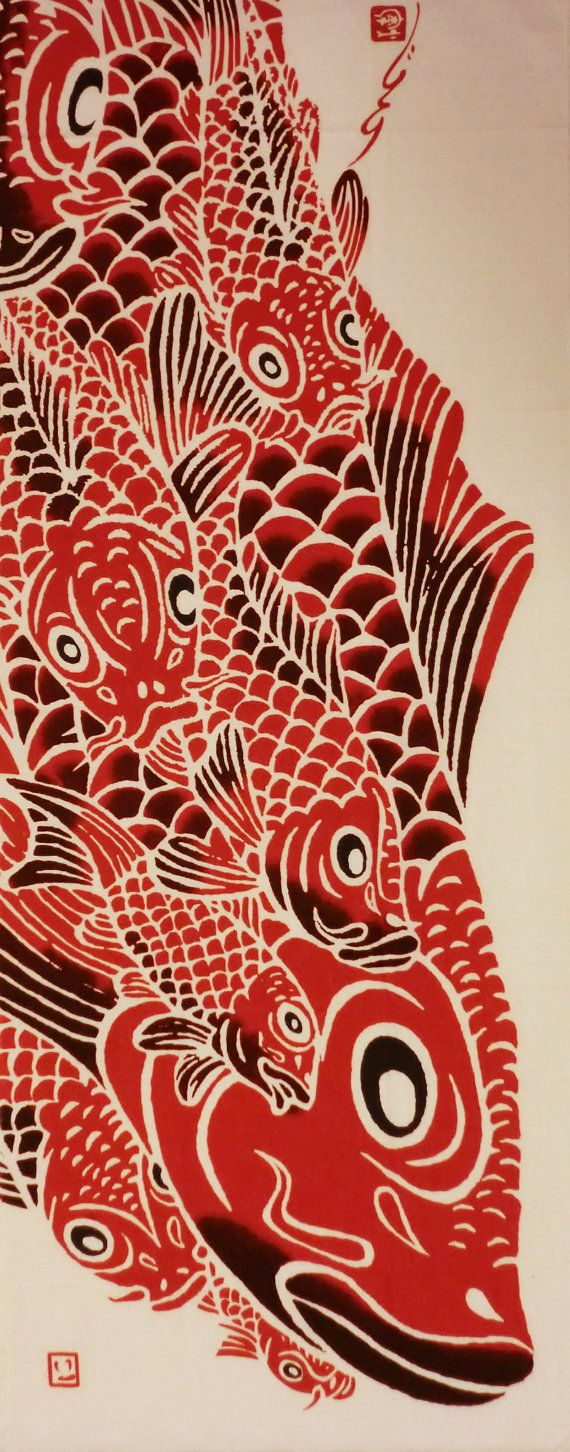 Japanese tenugui cotton fabric red carps by for Koi fish print fabric