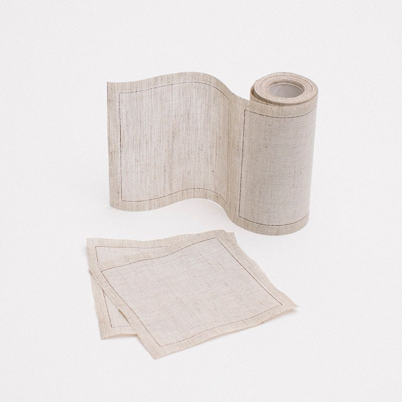 Linen Cocktail Napkins (50)     Our linen cocktail napkins come in a set of 50 and are perforated on a roll for easy tear-off convenience. Made of 100% cotton fibers, the napkins are biodegradable, compostable and recyclable. They can be disposed of after a single use or washed or reused up to six times. There is also an option to customize them with your graphic.  http://pressedcotton.com/shop/shop-by-category/new/linen-cocktail-napkins-50/