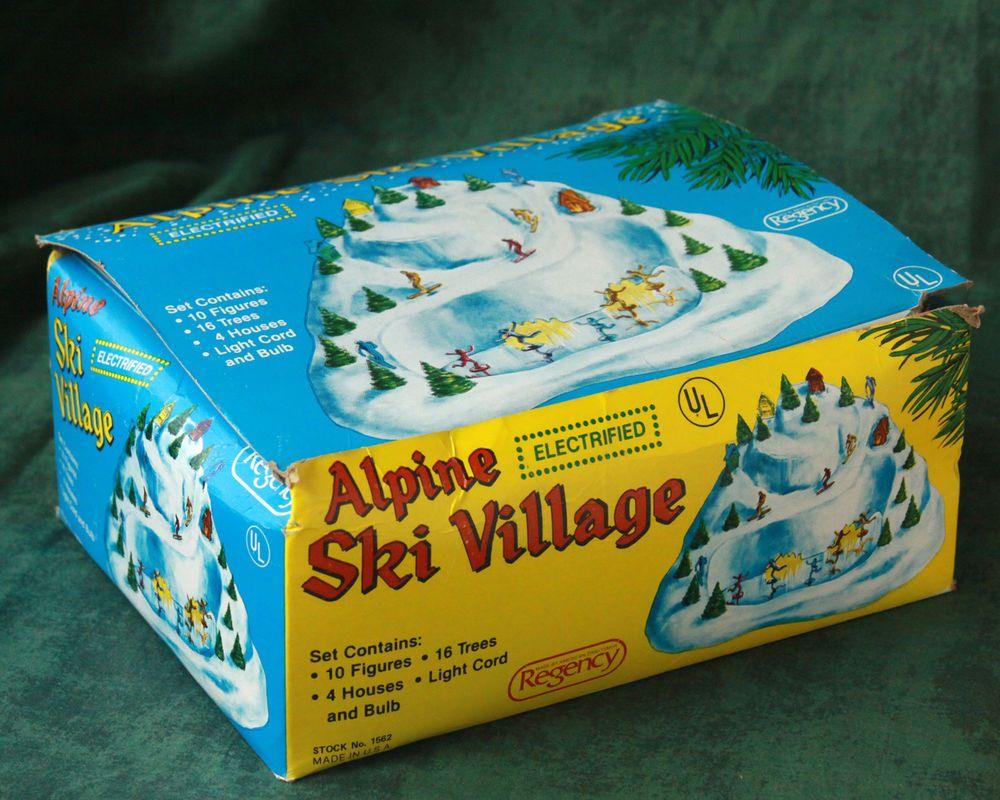 Vtg Alpine Ski Village Regency Electric Plastic Scene Skater Lighted Xmas Decor