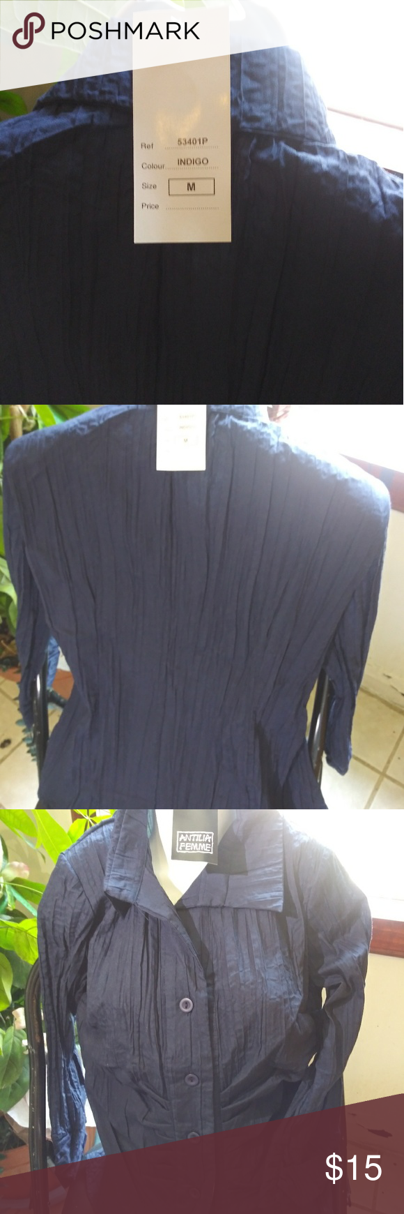 On Hold --Indigo Blue Pleated Blouse NWT Long sleeved pleated indigo deep blue ladies blouse with some stretch to it, perfect with summer whites, skirt, shorts, or white slacks. NWT Atillia Femme Other #whiteslacks