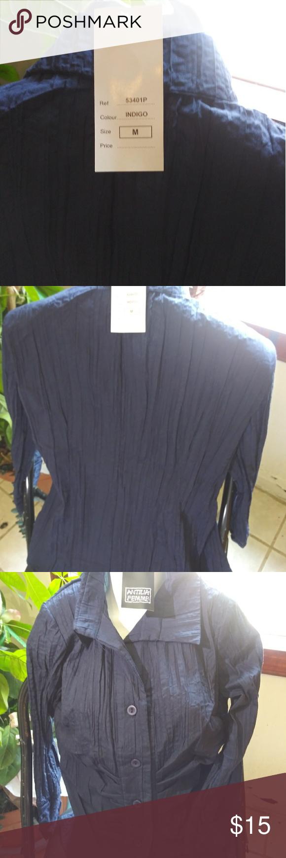 On Hold --Indigo Blue Pleated Blouse NWT Long sleeved pleated indigo deep blue ladies blouse with some stretch to it, perfect with summer whites, skirt, shorts, or white slacks. NWT Atillia Femme Other #whiteslacks