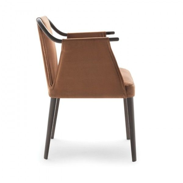 "Sayo Armchair — Jarrett Furniture  Supplying to individual hospitality projects in the UK and abroad is part of Furniture - Armchair with unusual looped upholstery to arms and back  H80 W58 D56 SH48 AH69  cm H31 5 W23 D22 SH19 AH27"" Price Guide £££ Please click here to contact us about this product  Due to the curved upholstery technique involved in this design, a sample of  the specified fabric is required for approval prior to production"