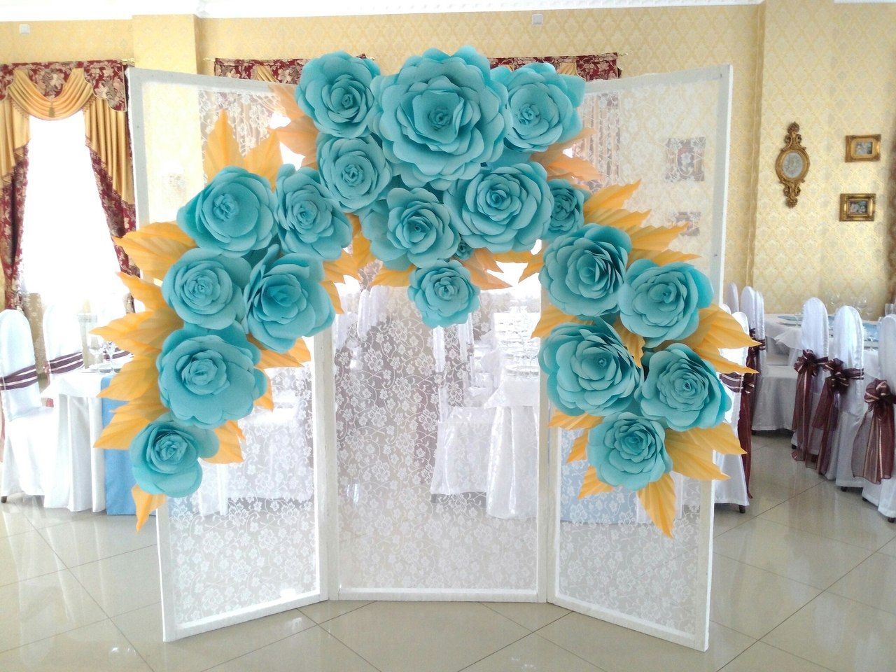 Paper flowers backdrop arts n crafted pinterest for Backdrop decoration ideas
