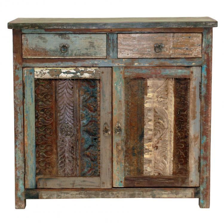 Reclaimed Wood Vintage Print Block 2 Drawer-2 Door Buffet | Beach ...