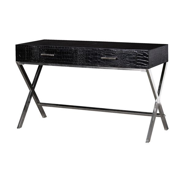 A Premium Black Mock Croc Leather Dressing Table With A