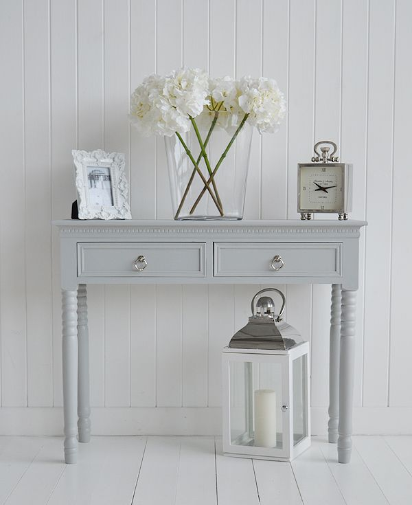 Grey Console Table With Polished Chrome Handles For Hall Furniture
