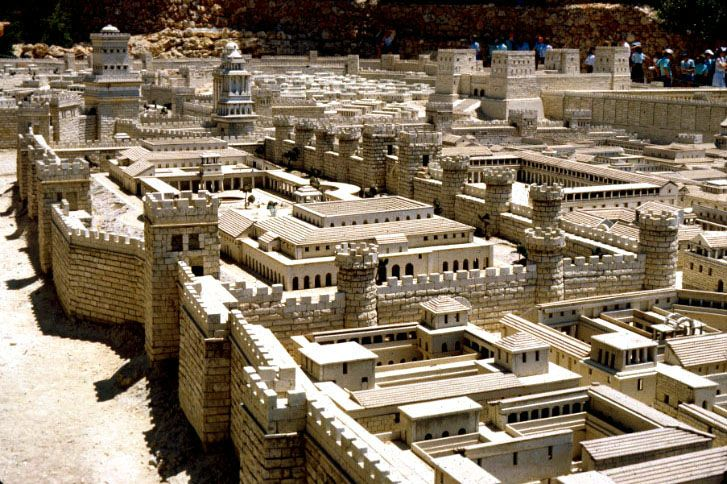 herod s palace in the foreground the antonia fortress four towered