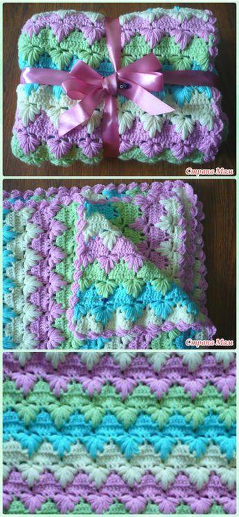 Crochet Puff Spike Stitch Blanket Free Pattern | Crochet patterns ...