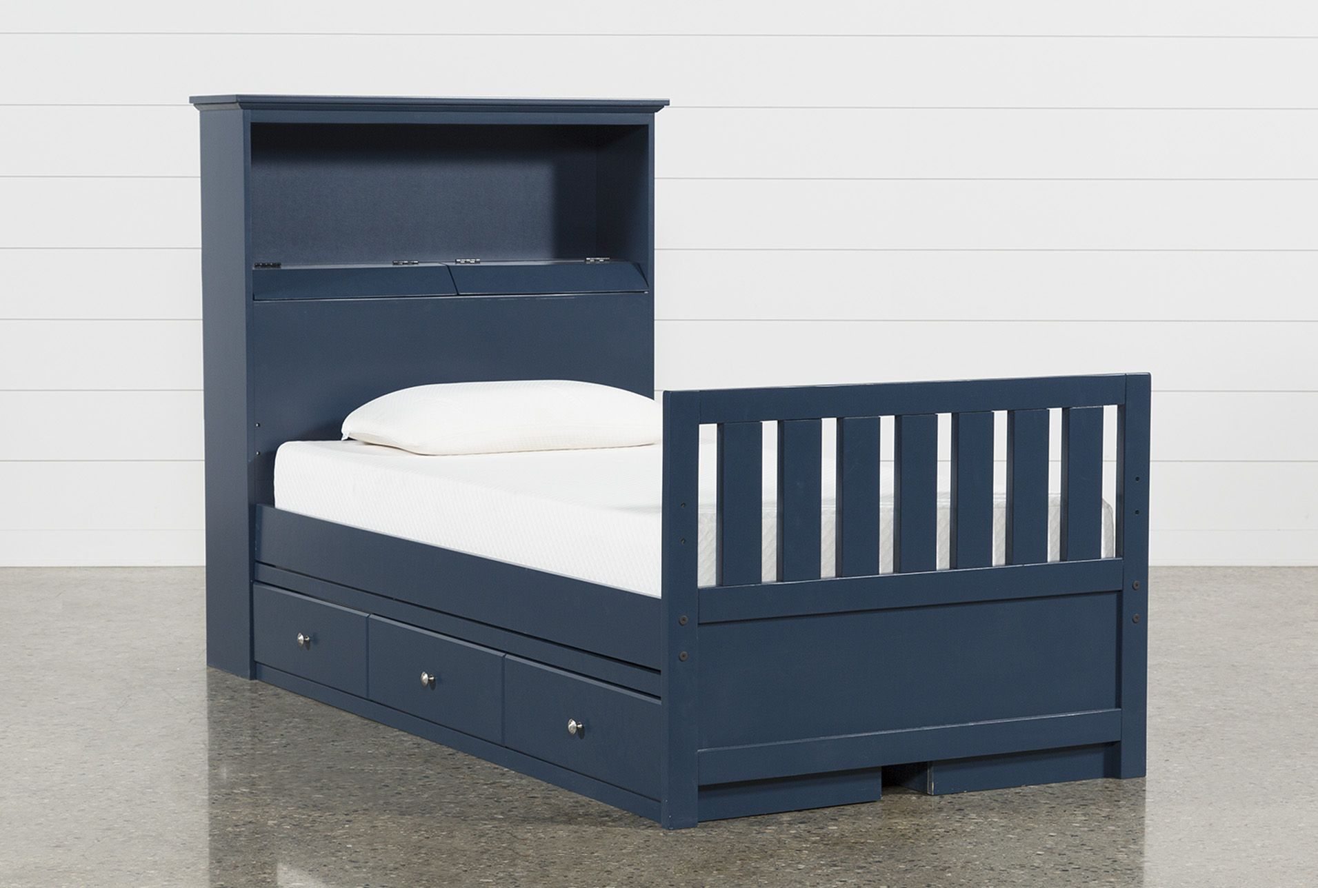05f0b5992310 Taylor Navy Twin Bookcase Bed With Double 3- Drawer Storage ...