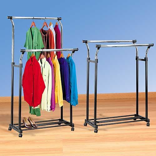 Delightful DOUBLE ADJUSTABLE GARMENT RACK | Get Organized #closet #organization