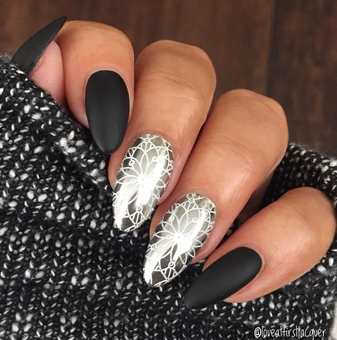 Matte black, almond shaped nails with chrome powder and white nail ...