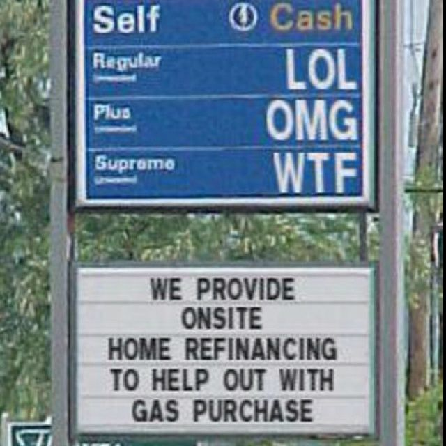 Funny Gas Station Sign For When Prices Are Too High