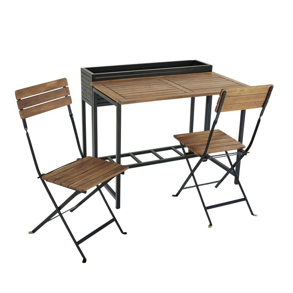 Gartentisch Und 2 Stuhle Aus Massivem Akazienholz Und Schwarzem
