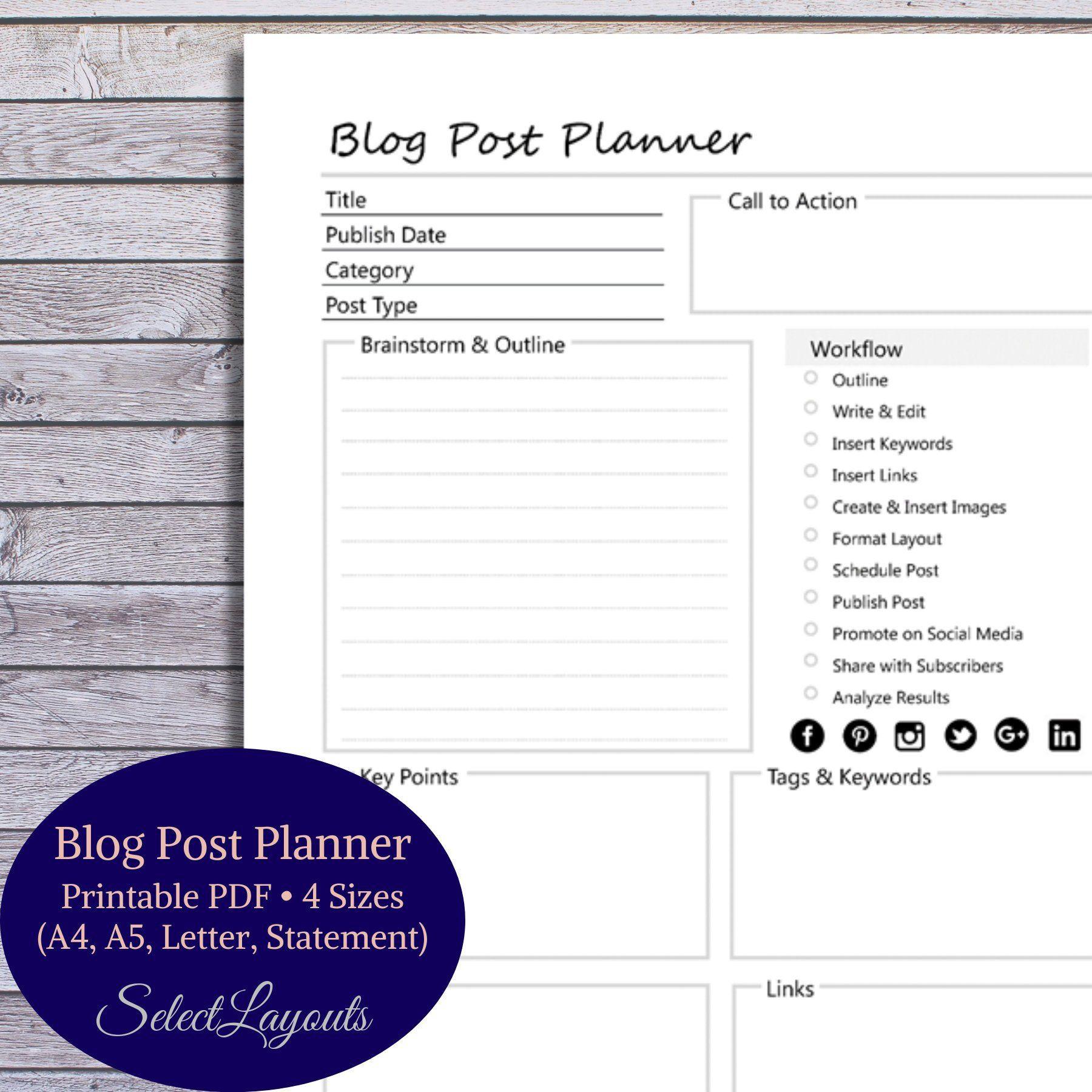 blog post planner printable pdf template digital planner. Black Bedroom Furniture Sets. Home Design Ideas