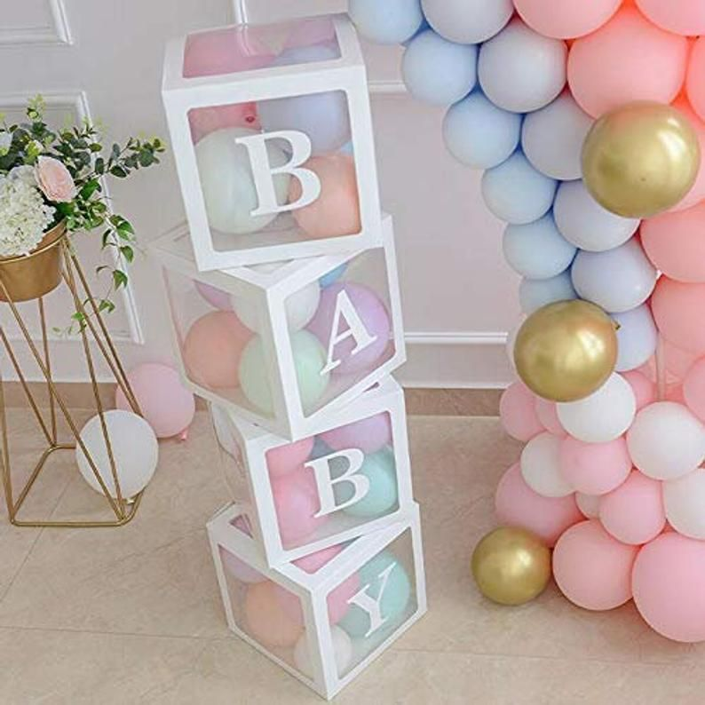 Baby Shower Boxes Transparent Balloon Boxes Baby Shower Decorations Balloon Clear Box Customizable Letters Party Supplies Photo Background In 2020 Baby Shower Box Baby Blocks Baby Shower Baby Shower Balloons