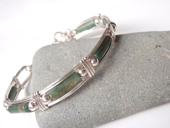 Silver and Jade Bracelet or Bangle Size 7 by GildedOwlJewelry, $54.00